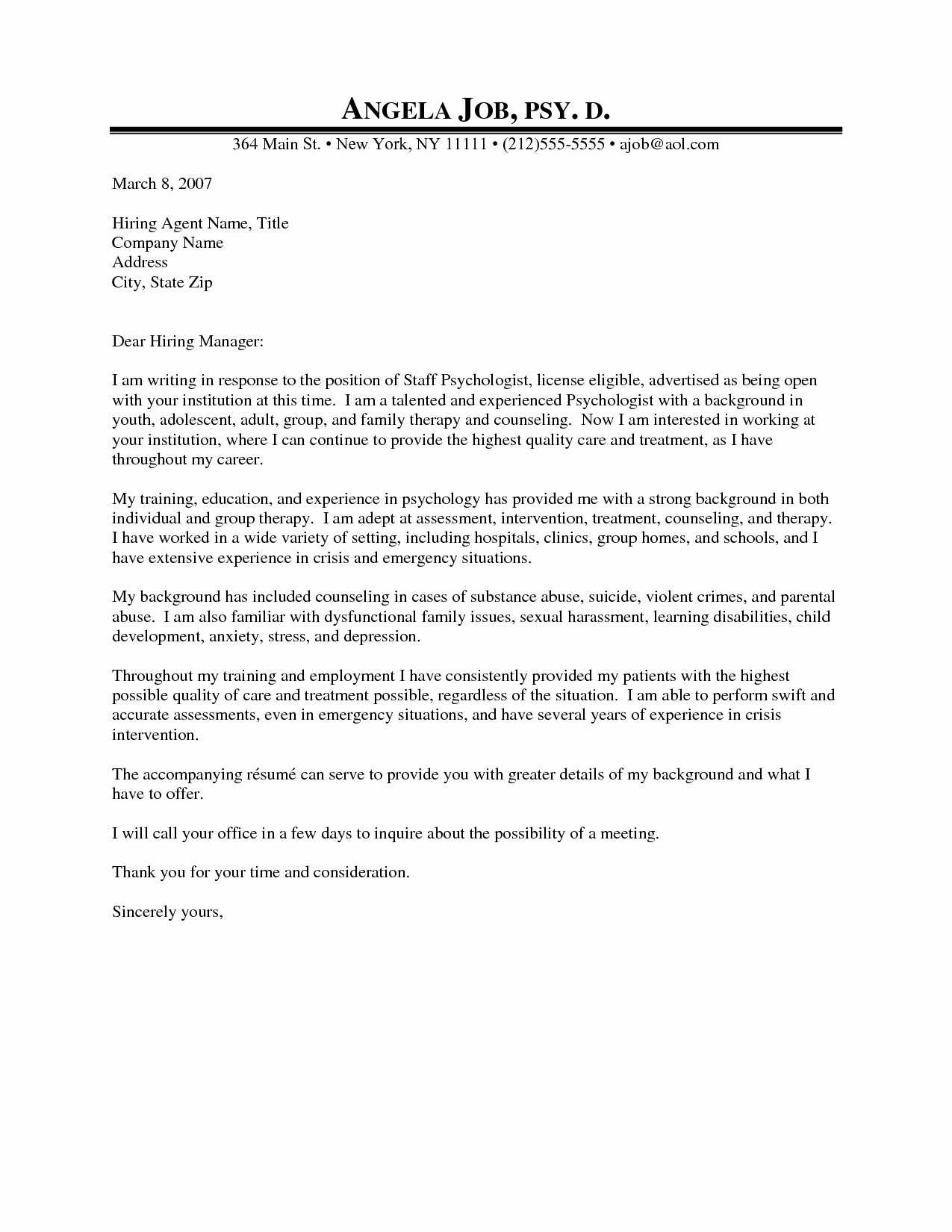Professional Letter Of Interest Elegant Professional Counseling Cover Letter