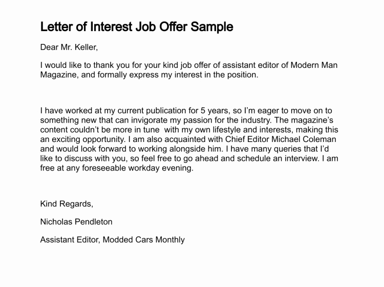 Professional Letter Of Interest Fresh Sample Letter Interest Job Position