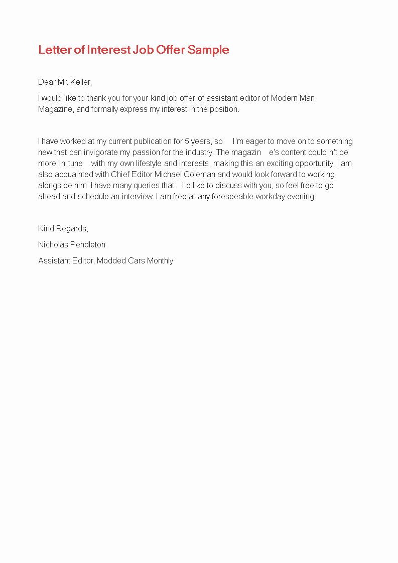 Professional Letter Of Interest Inspirational Letter Of Interest for Job Sample