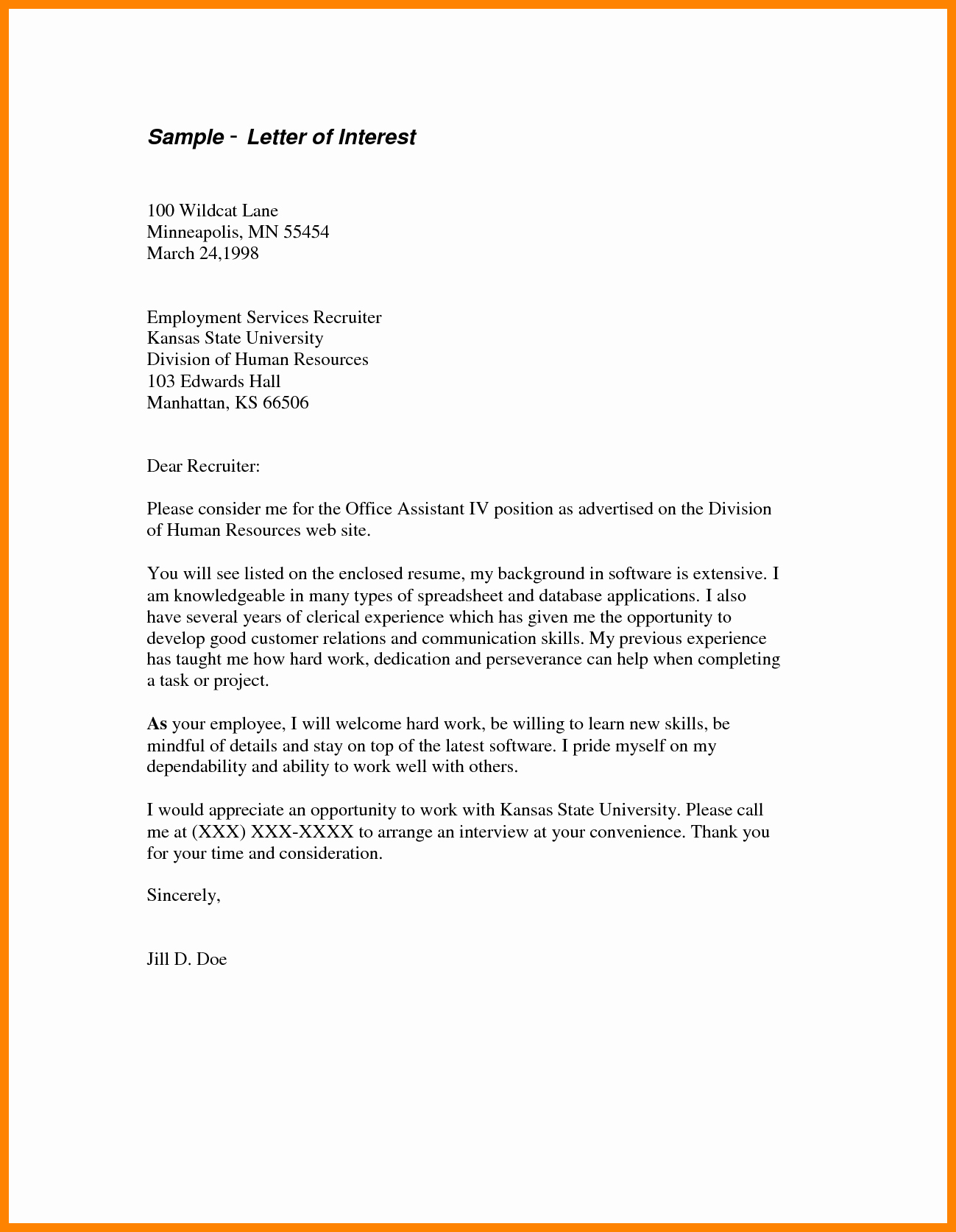 Professional Letter Of Interest Unique Letter Interest