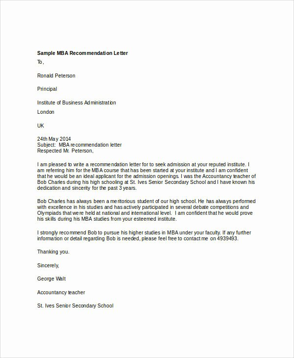 Professional Recommendation Letter Example Awesome 37 Re Mendation Letter format Samples