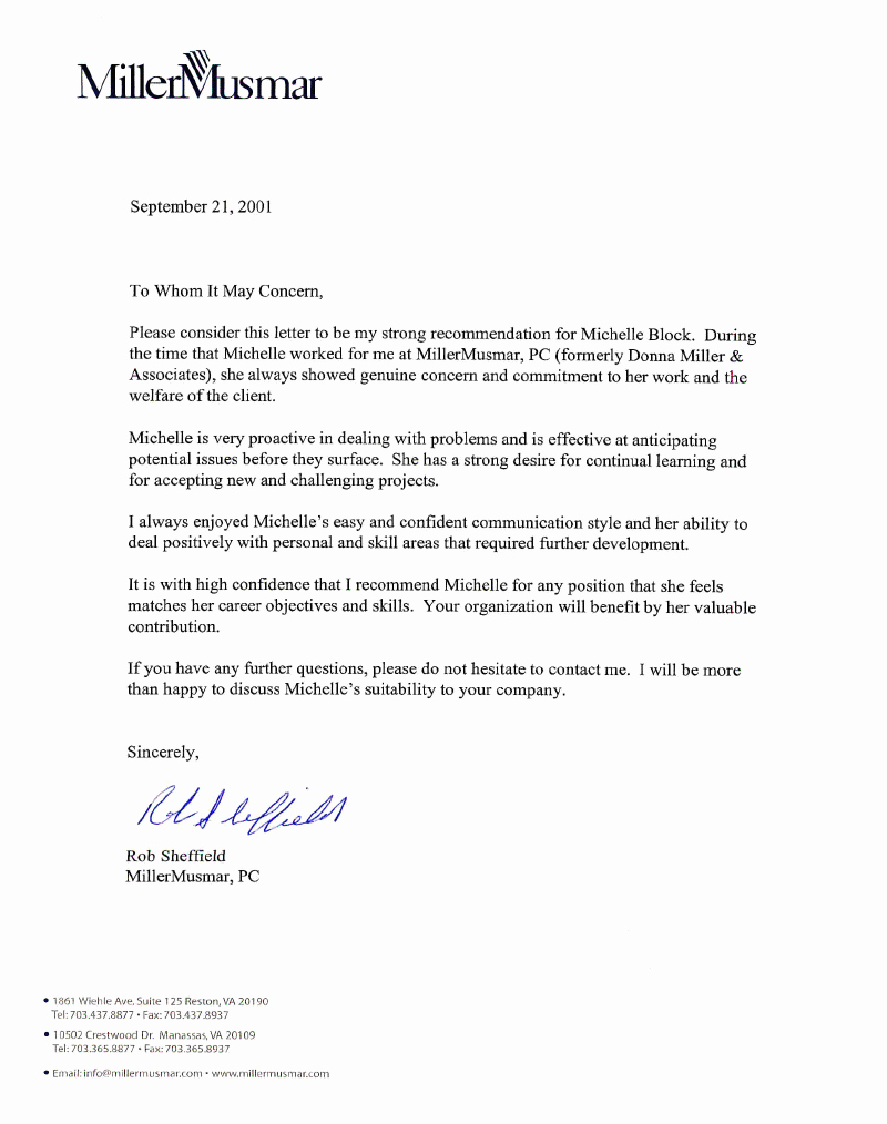Professional Recommendation Letter Example Inspirational Letter Of Re Mendation R Sheffield