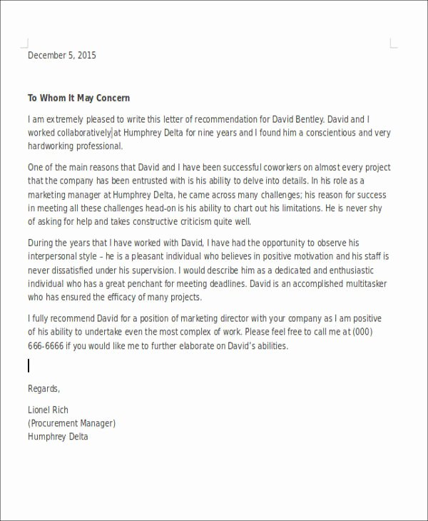 Professional Recommendation Letter Example Unique 6 Coworker Re Mendation Letter Samples Examples Templates