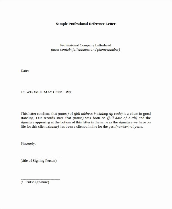 Professional Recommendation Letter Example Unique 8 Reference Letter Samples Pdf Word
