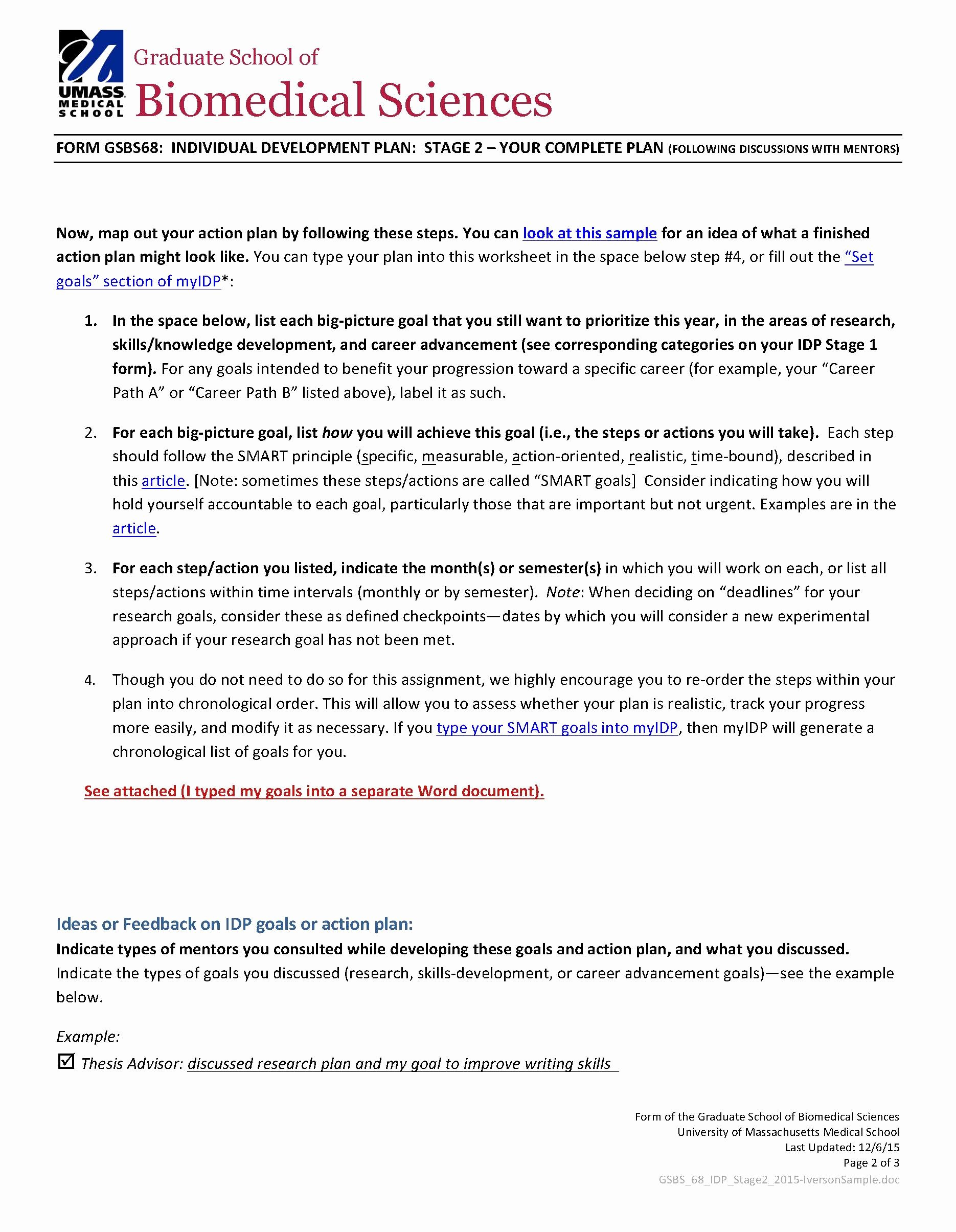 Professional Smart Goal Examples Fresh Gsbs Student Idp Sample Stage 2 form