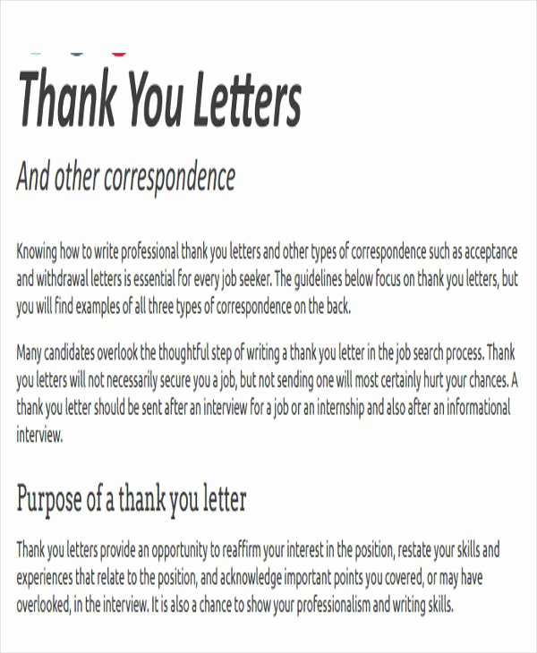 Professional Thank You Letters Elegant Thank You Letter format