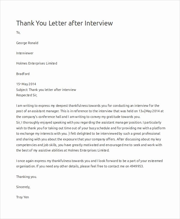 Professional Thank You Letters Fresh Sample Thank You Letters for Interview 7 Examples In