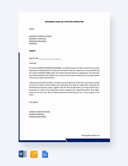 Professional Thank You Letters Inspirational Free 13 Sample Professional Thank You Letters In Pdf