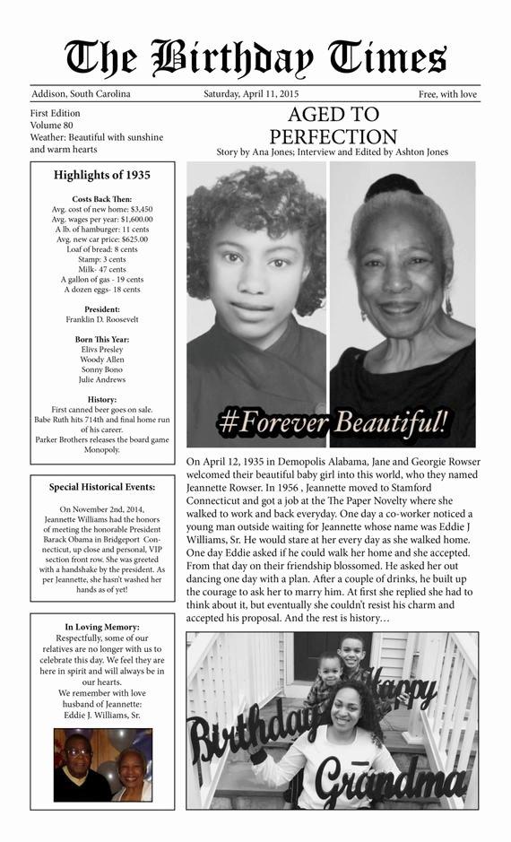 Program for 70th Birthday Party Lovely Birthday Newspaper Birthday Times