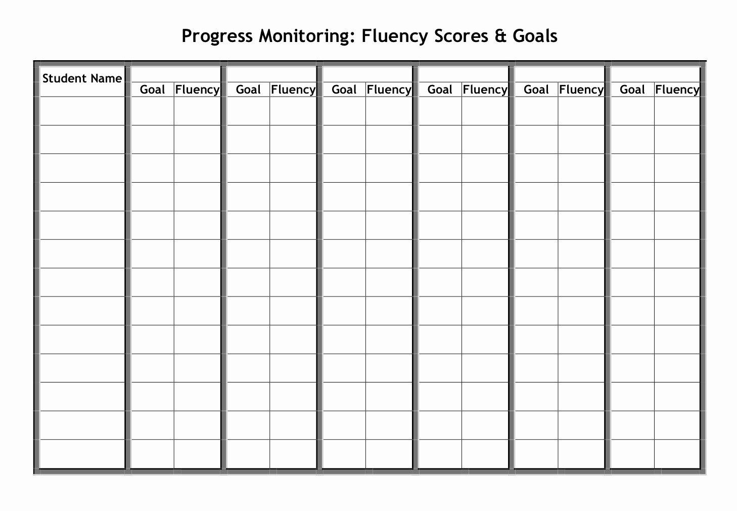 Progress Monitoring Charts Printable Inspirational Fluency Graphs for Progress Monitoring