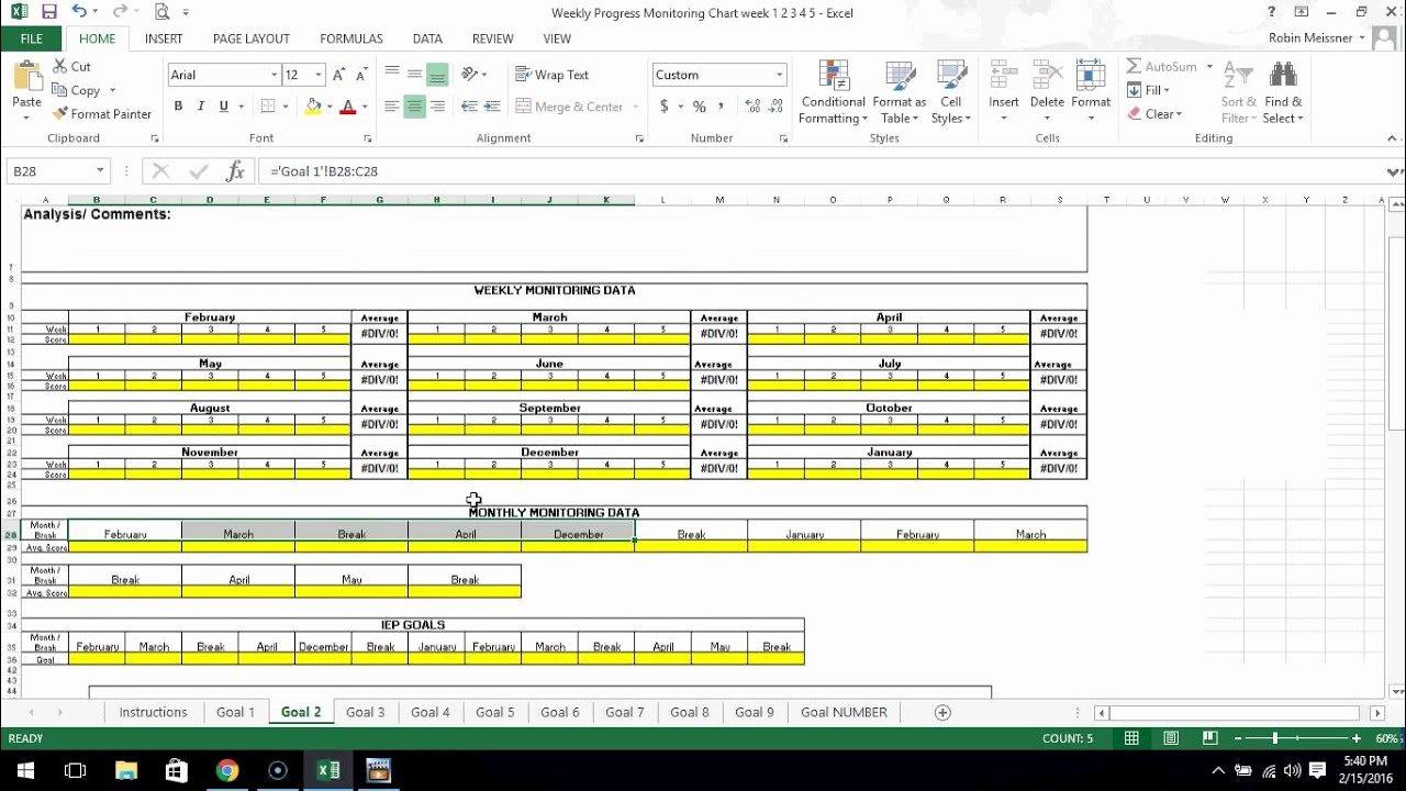 Progress Monitoring Charts Printable Inspirational Special Education Iep Weekly Progress Monitoring Chart