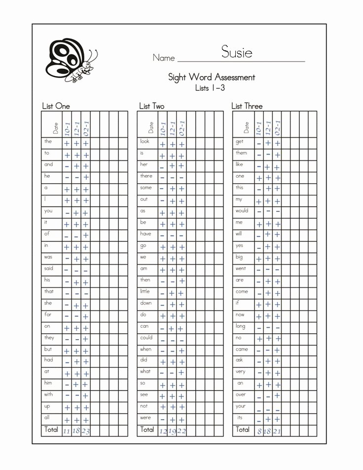 Progress Monitoring Charts Printable New Dolch Sight Word assessment