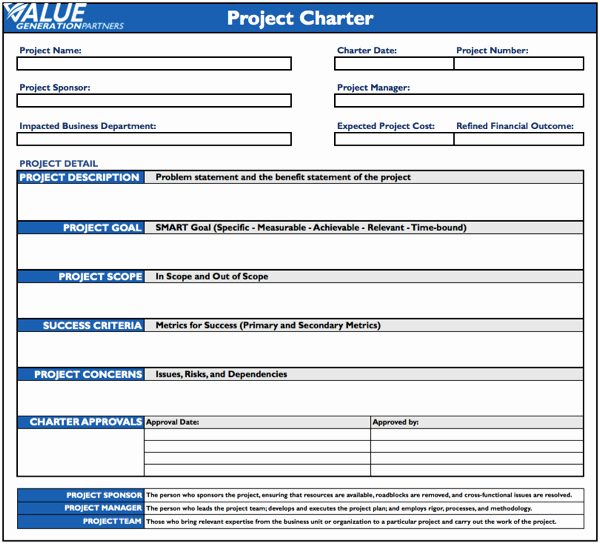 Project Charter Template Word Fresh Generating Value with A Project Charter – Value Generation