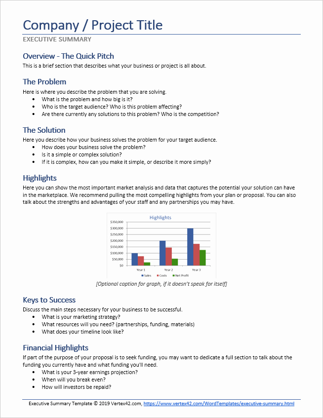 Project Executive Summary Template Word Inspirational Executive Summary Template for Word