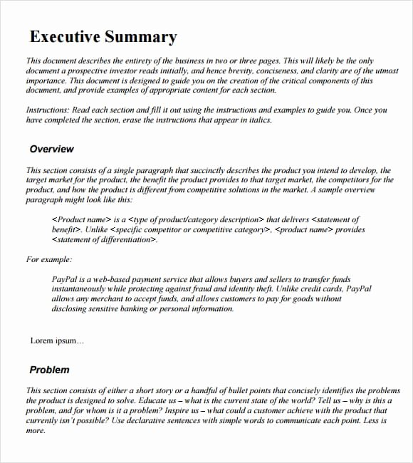 Project Executive Summary Template Word Luxury 43 Free Executive Summary Templates In Word Excel Pdf