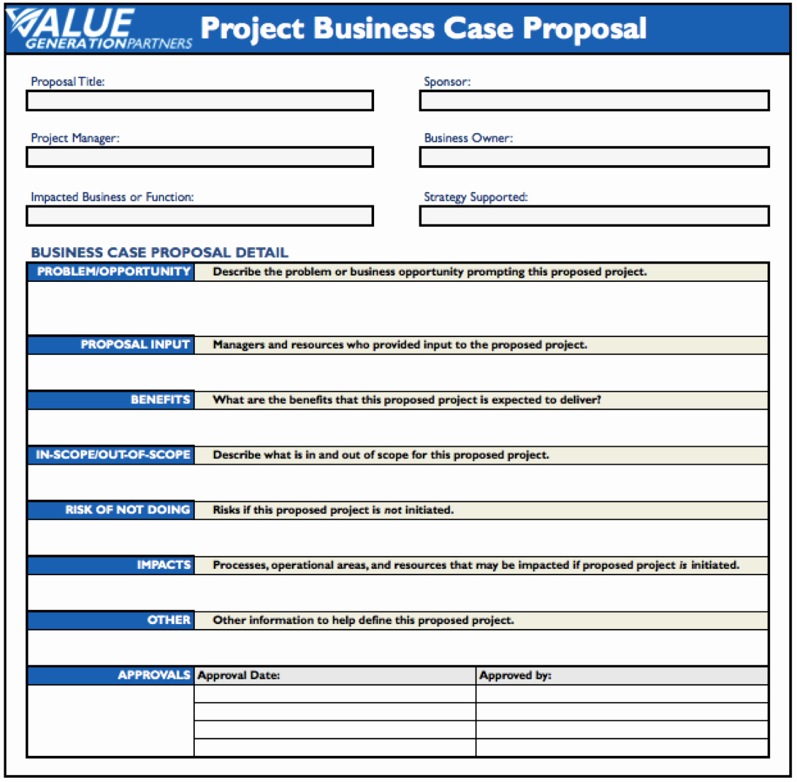 Project Proposal Outline Template Luxury Generating Value by Using A Project Business Case Proposal