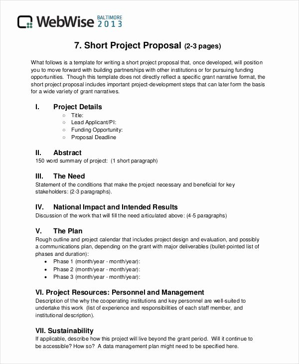 Project Proposal Outline Template New Free 43 Simple Proposal formats Examples In Pdf