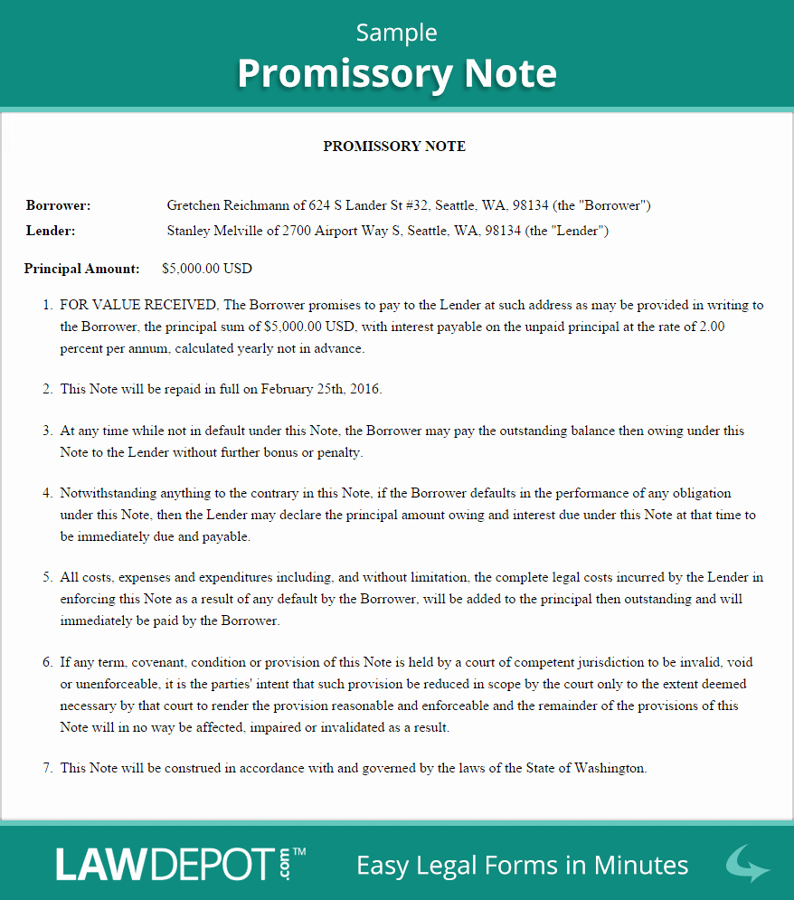 Promissory Note Payoff Letter Awesome Free Promissory Note Create Download and Print