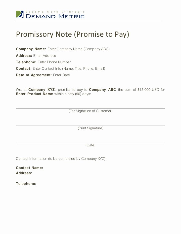 Promissory Note Payoff Letter Fresh Promise to Pay Template
