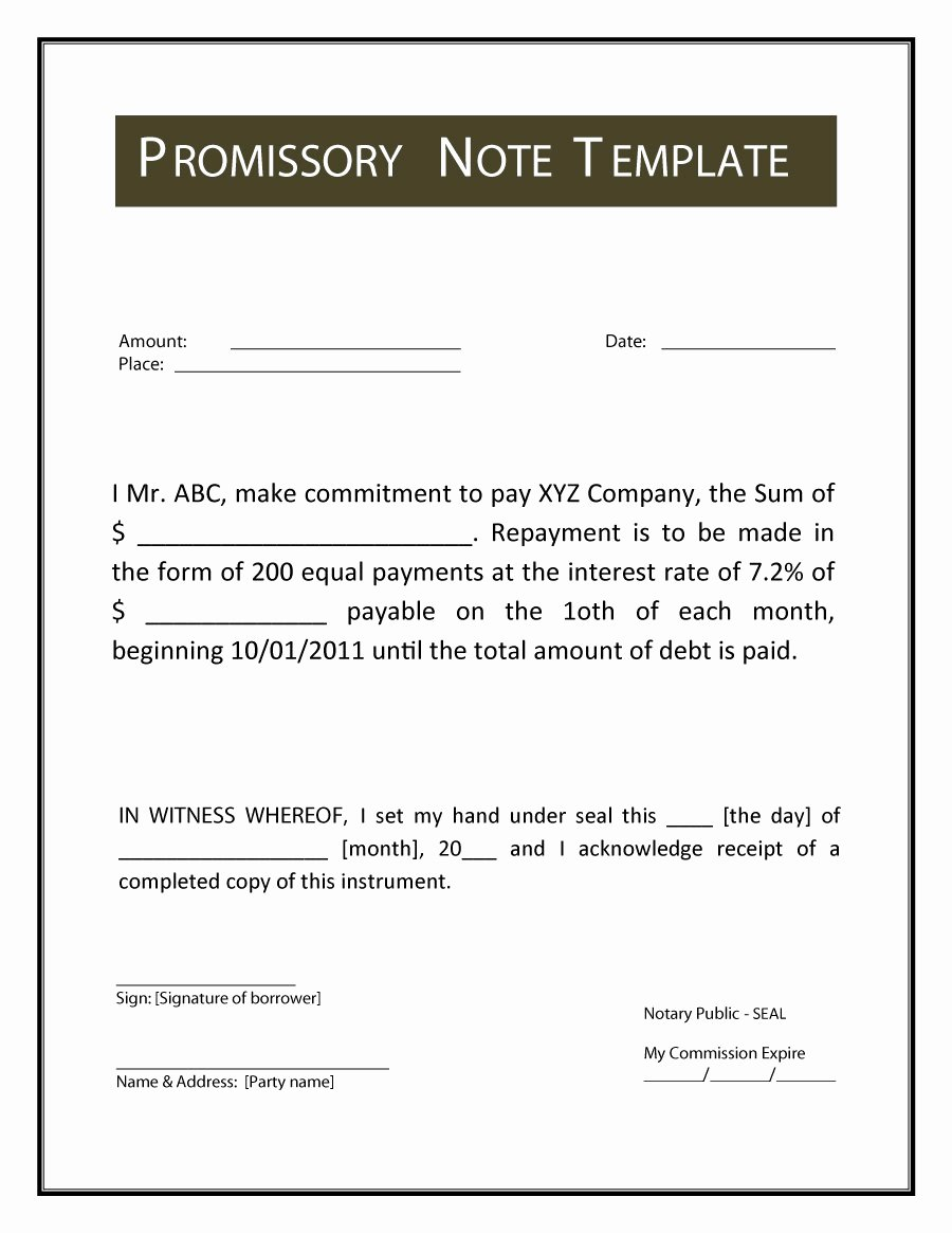 Promissory Note Payoff Letter Inspirational 45 Free Promissory Note Templates & forms [word & Pdf