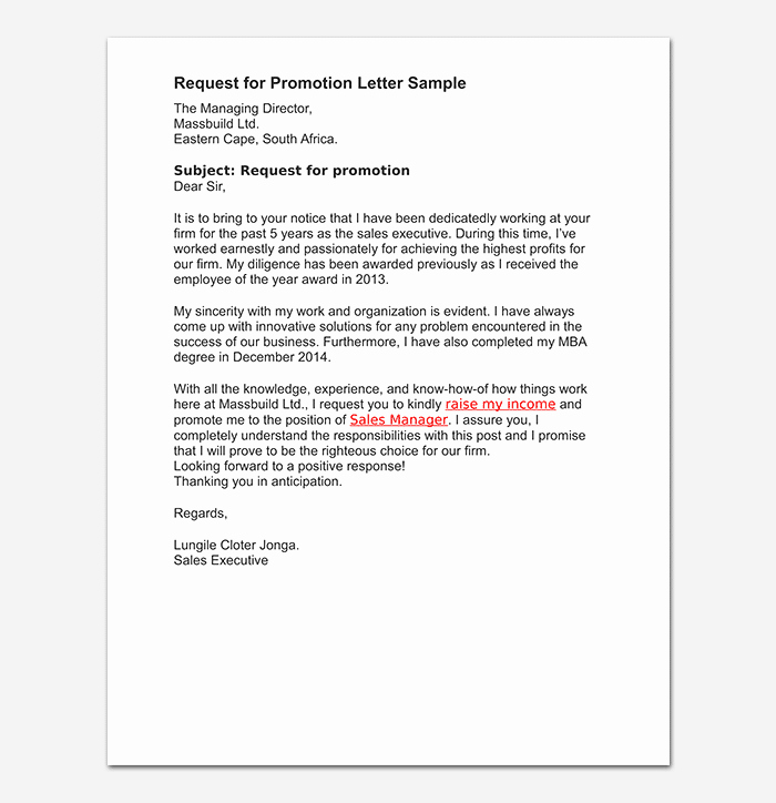 Promotion Letter Of Interest Unique Promotion Request Letter 12 Sample Letters & format