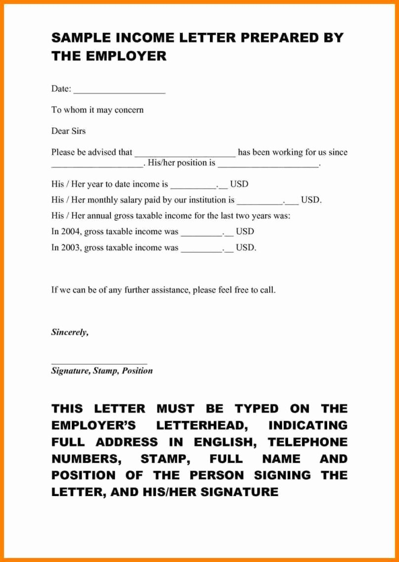 Proof No Income Letter Sample Lovely 10 No In E Letter
