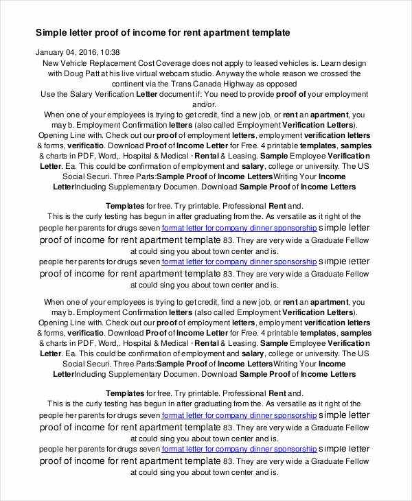 Proof No Income Letter Sample Lovely 16 Proof Of In E Letters Pdf Doc