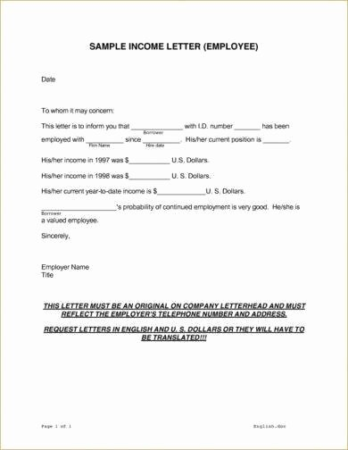 Proof No Income Letter Sample Luxury 9 In E Verification Letter Examples In Pdf