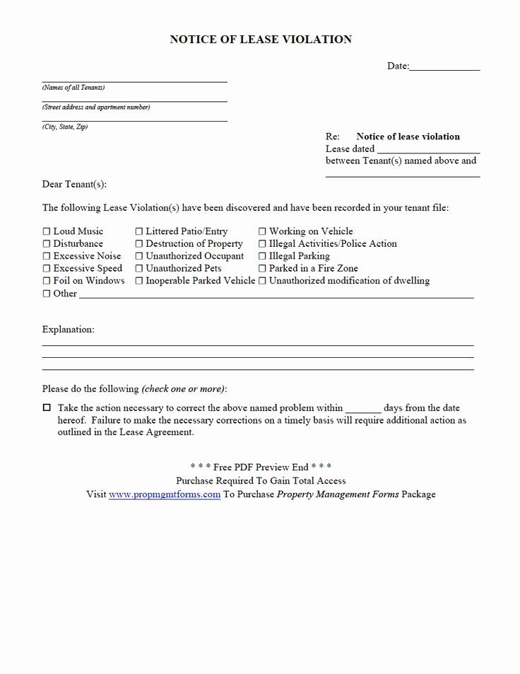 Property Management forms Templates Inspirational Notice Of Lease Violation Pdf