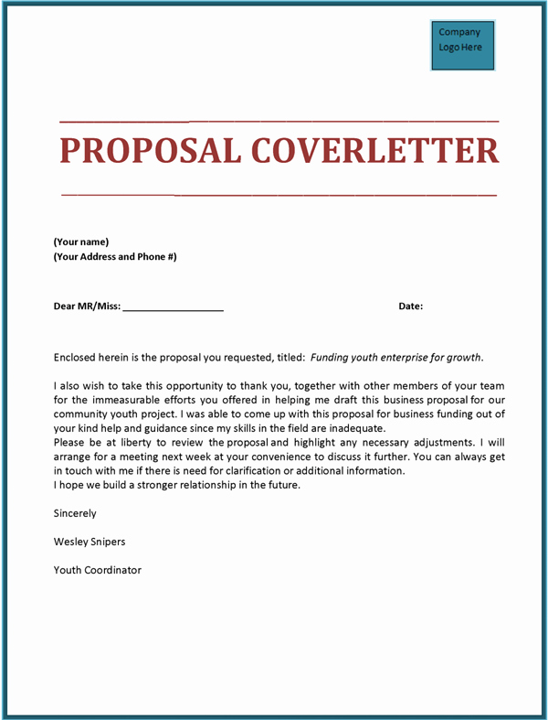Proposal Cover Letter Template New Proposal Cover Letter