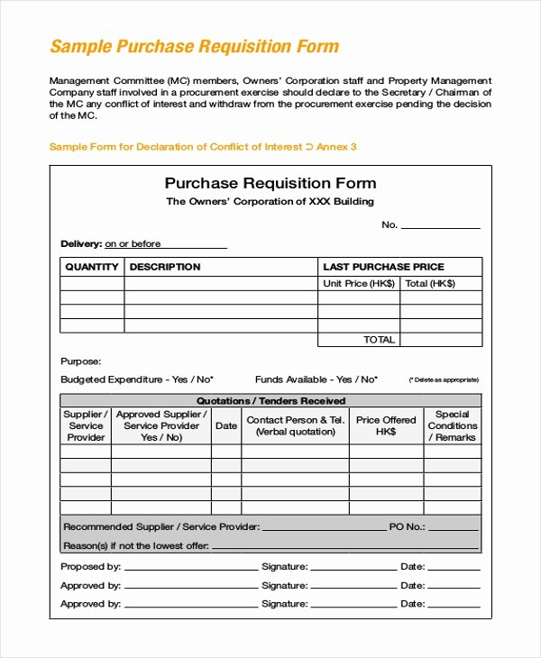 Purchasing Requisition form Templates New Sample Purchase Requisition forms 8 Free Documents In