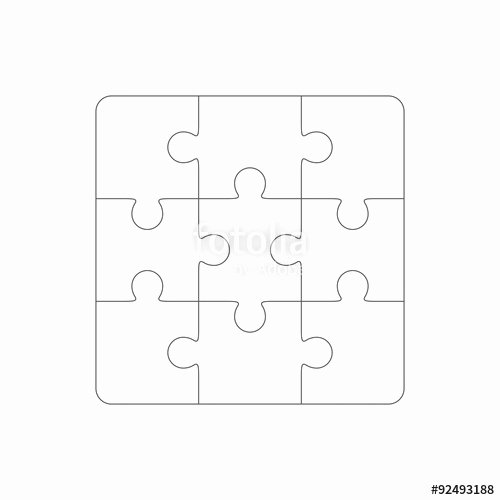 "Puzzle Template 9 Pieces Awesome ""jigsaw Puzzle Blank Template Of Nine Pieces"" Stock Image"
