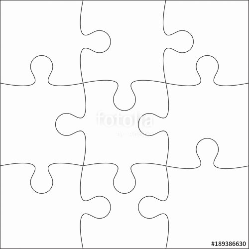 "Puzzle Template 9 Pieces Luxury ""jigsaw Puzzle Blank Template or Cutting Guidelines Of 9"