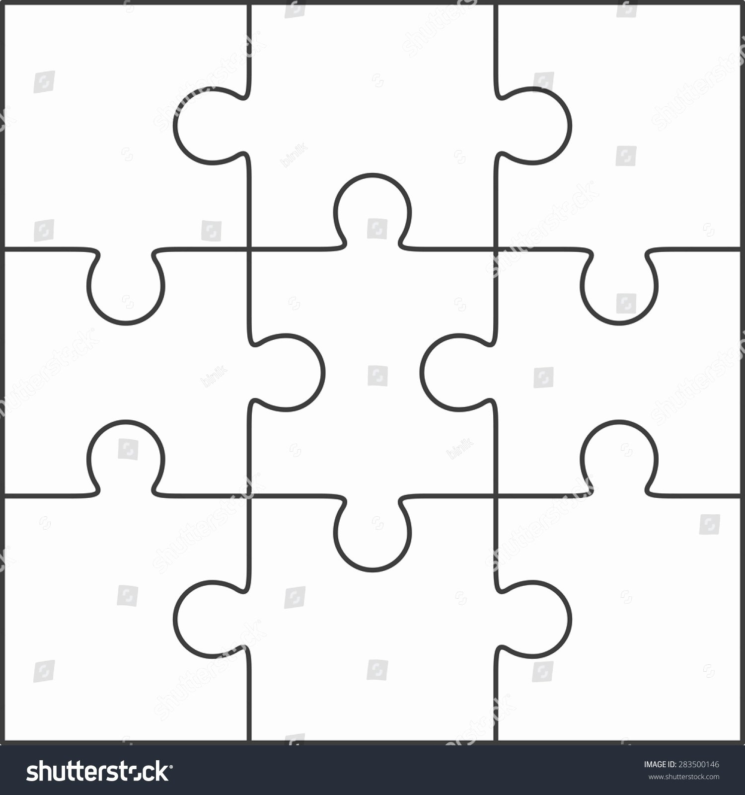 Puzzle Template 9 Pieces New Jigsaw Puzzle Vector Blank Simple Template Stock Vector