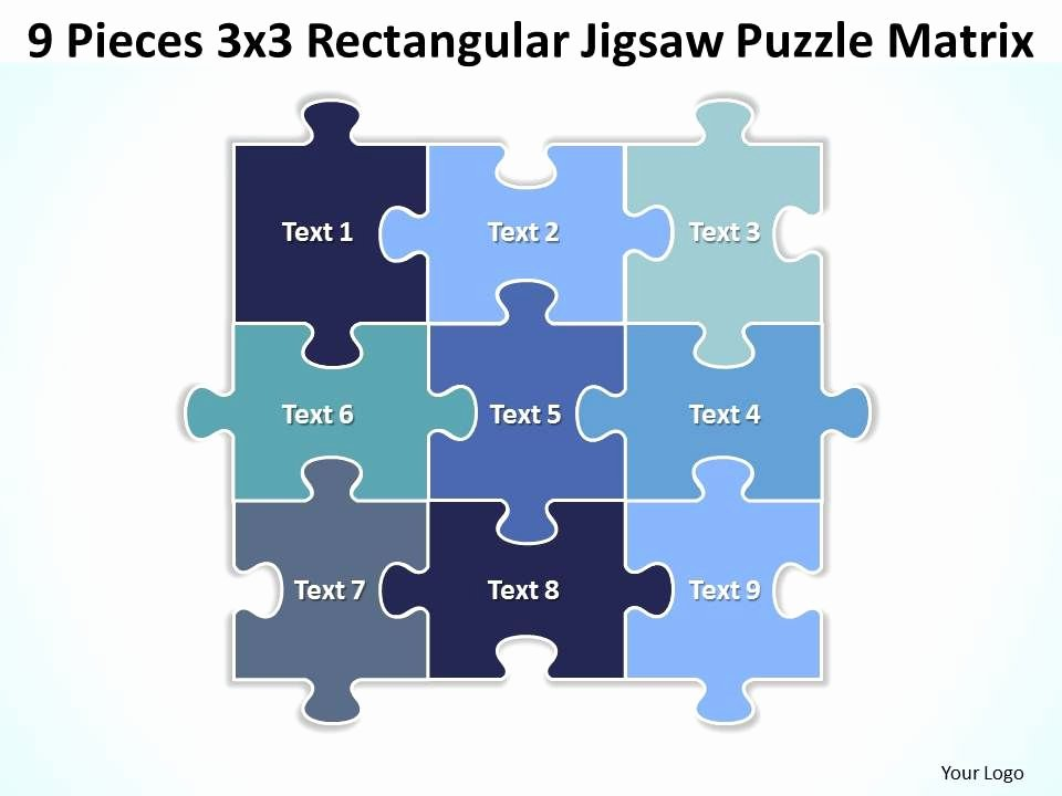 Puzzle Template 9 Pieces Unique 9 Pieces 3x3 Rectangular Jigsaw Puzzle Matrix