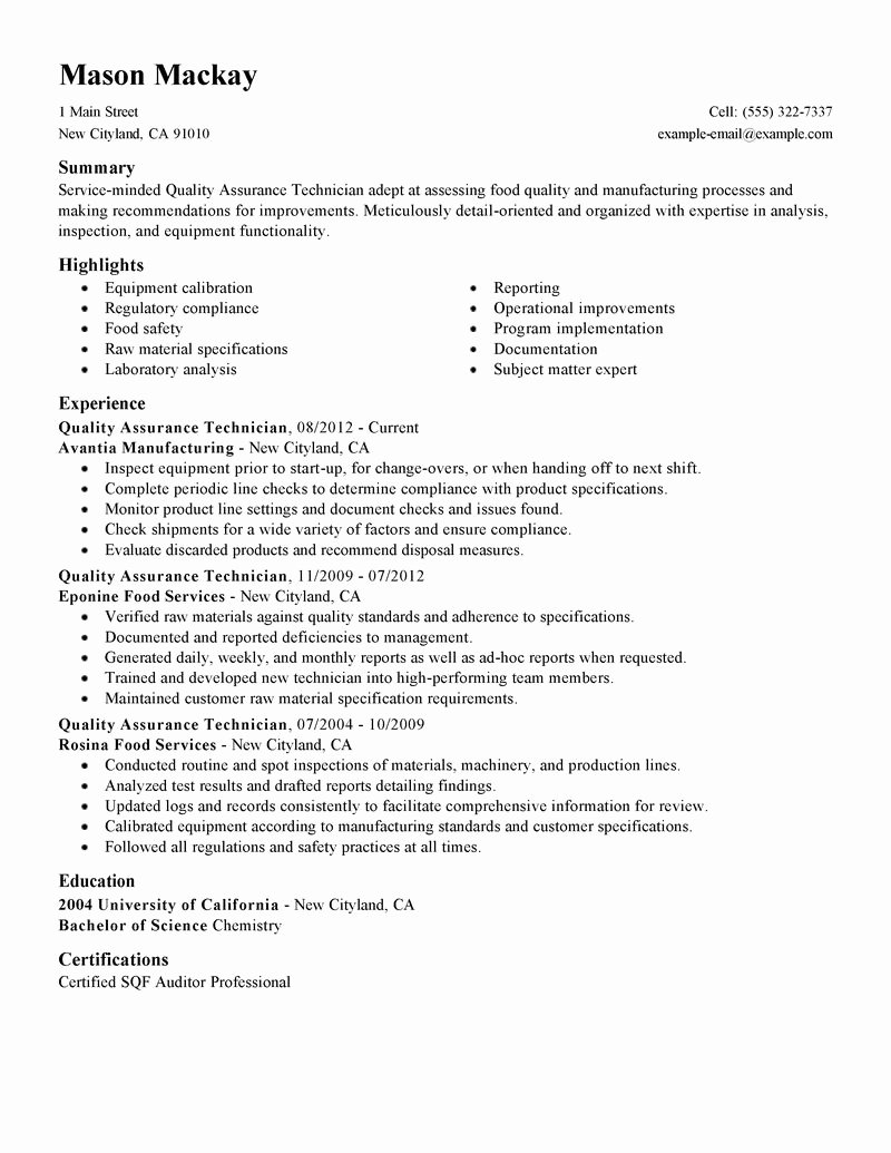 Quality assurance Report Sample Fresh Best Quality assurance Resume Example