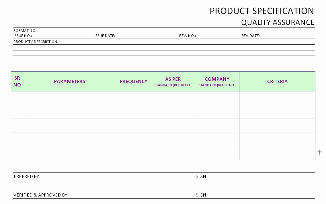 Quality assurance Report Sample Fresh Product Specification Operational Quality assurance