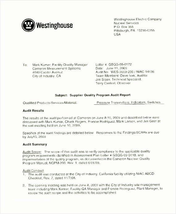 Quality assurance Report Sample Lovely Audit Report format