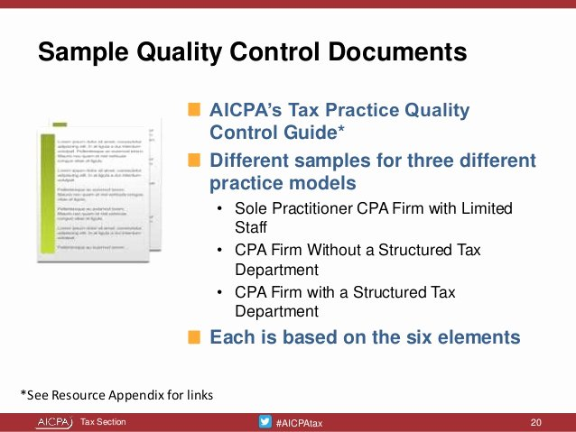 Quality Control Documentation Templates Best Of Tailor Made Tax Practice Quality Controls Presented at the