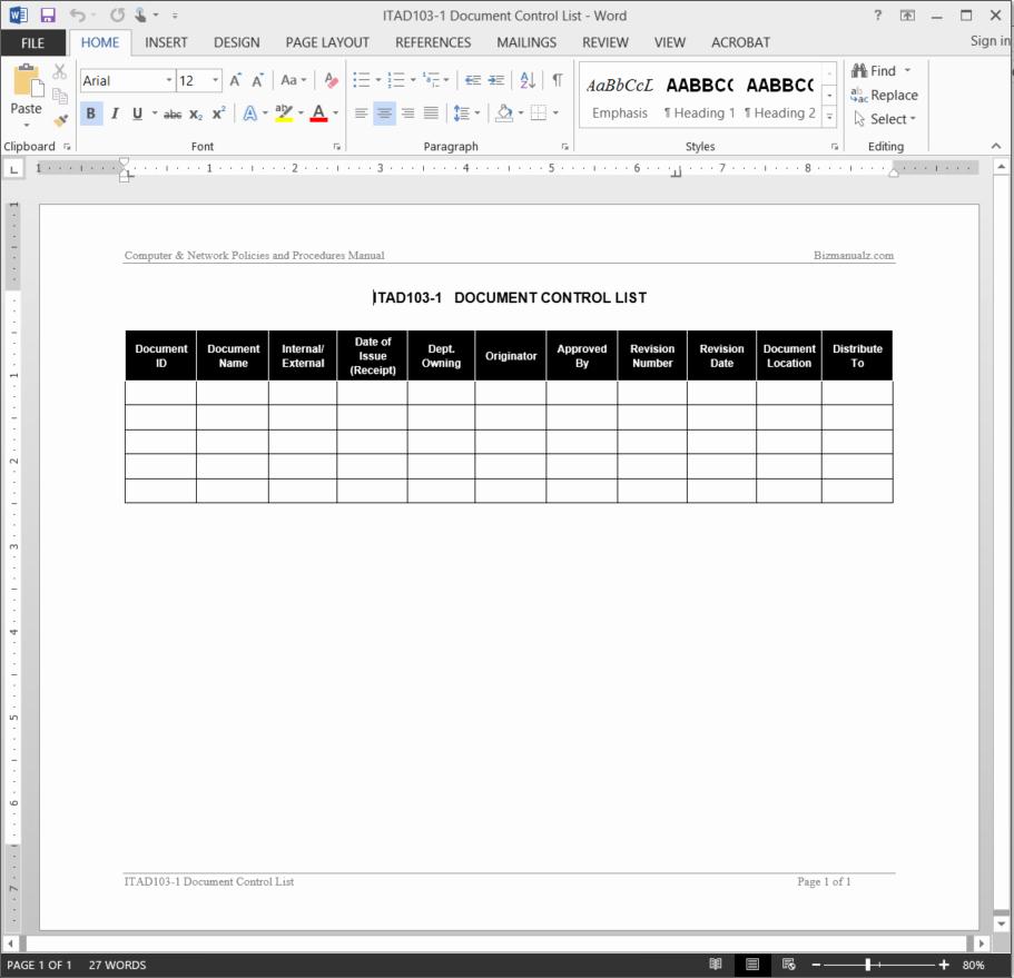 Quality Control Documentation Templates Unique It Document Control List Template