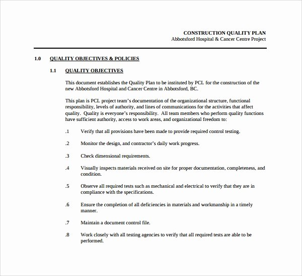 Quality Control Documents Template Beautiful Sample Quality Control Plan Template 10 Free Documents