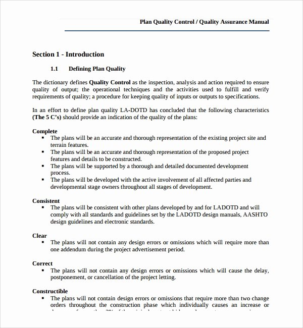 Quality Control Documents Template Beautiful Sample Quality Control Plan Template 8 Free Documents