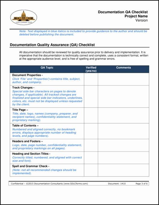 Quality Control Documents Template Fresh Sdlcforms Documentation Qa Checklist Template