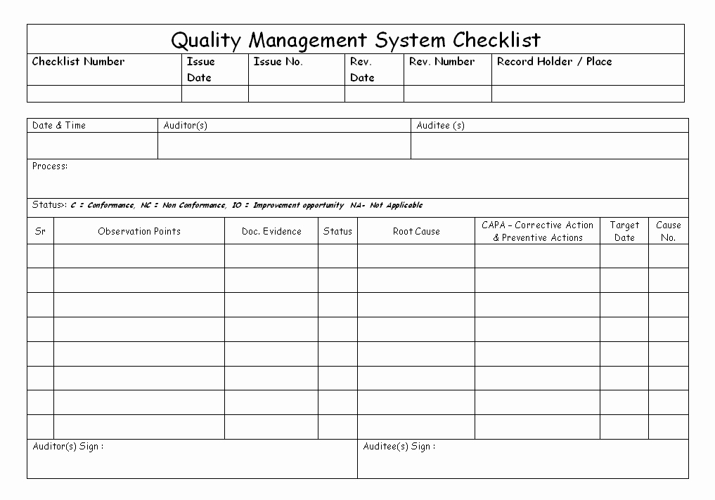 Quality Control Documents Template Lovely Quality Management System Checklist