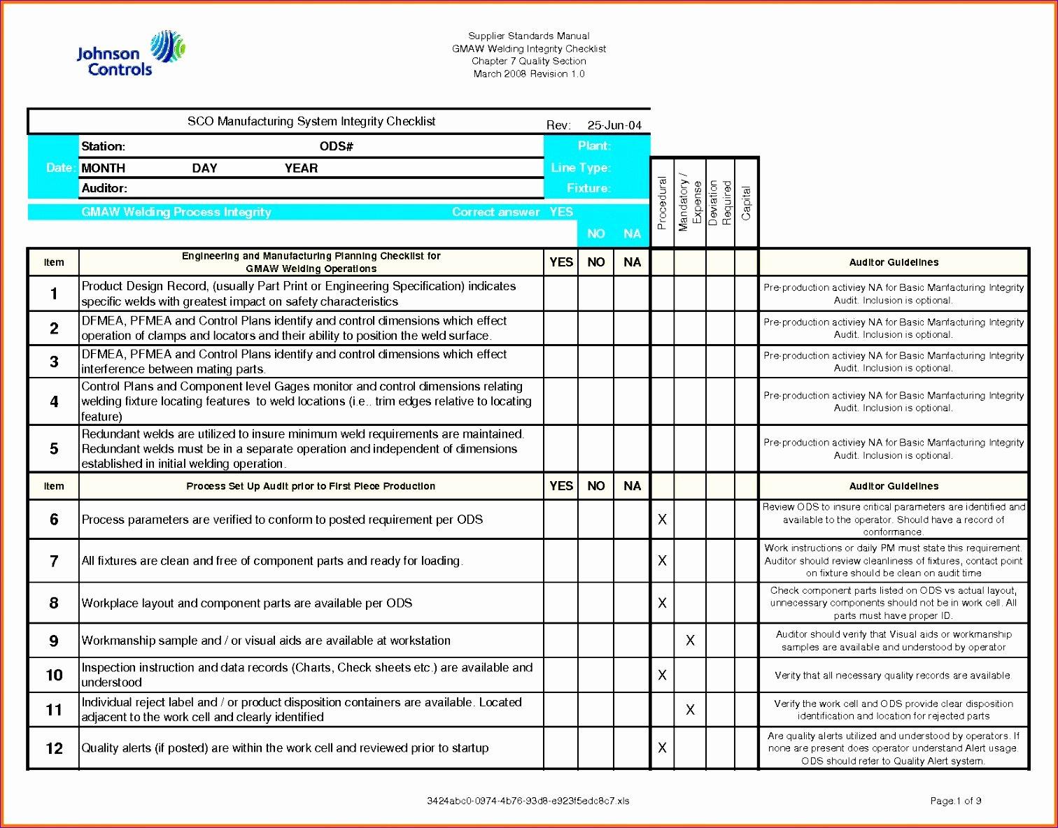Quality Control Documents Template Unique 11 Quality Checklist Template Excel Exceltemplates
