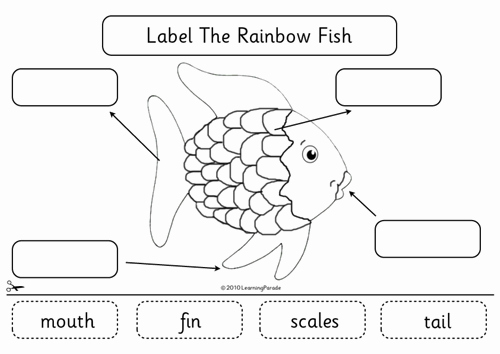 Rainbow Fish Printable Template Elegant Label the Rainbow Fish by Learningparade