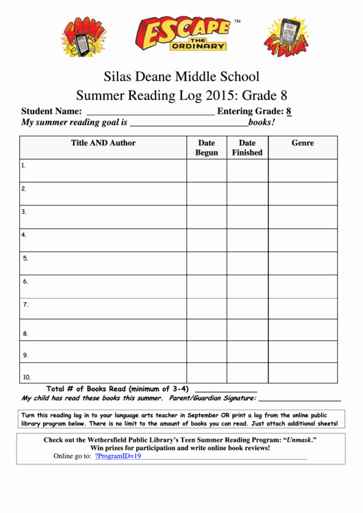 Reading Log Template Middle School Awesome 8th Grade Middle School Summer Reading Log Template