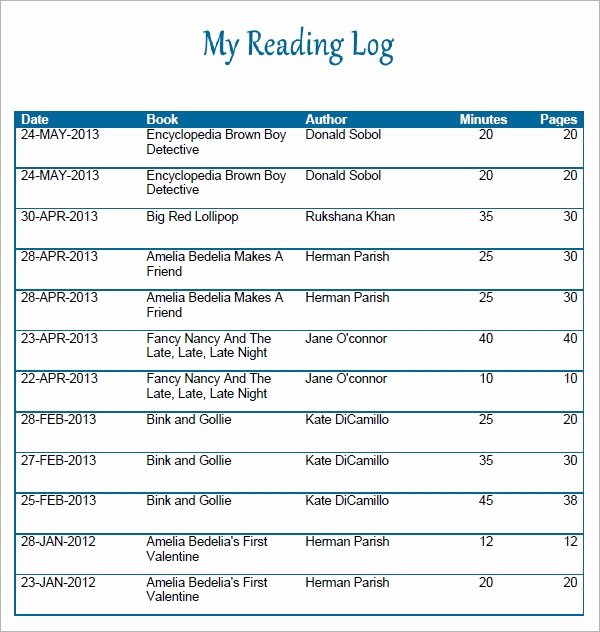 Reading Log Template Middle School Fresh Free 12 Sample Reading Log Templates In Pages Pdf