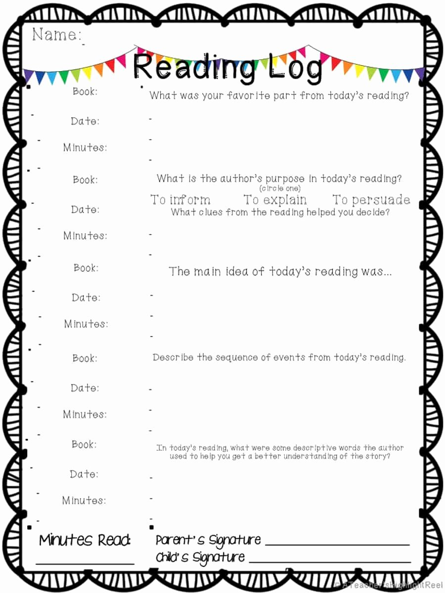 Reading Log Template Middle School Inspirational 47 Printable Reading Log Templates for Kids Middle School