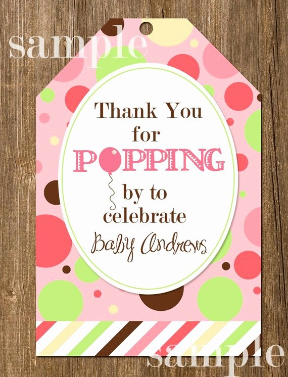 Ready to Pop Template Awesome Ready to Pop Polka Dot Balloon Baby Shower Favor Tags